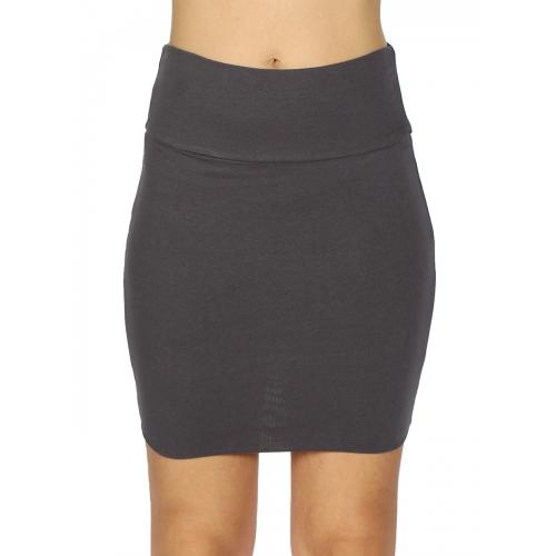 wholesale A11 Cotton blend solid mini skirt Black