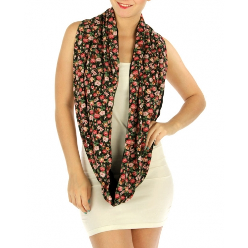 wholesale I35 Floral and knit infinity scarf Natural
