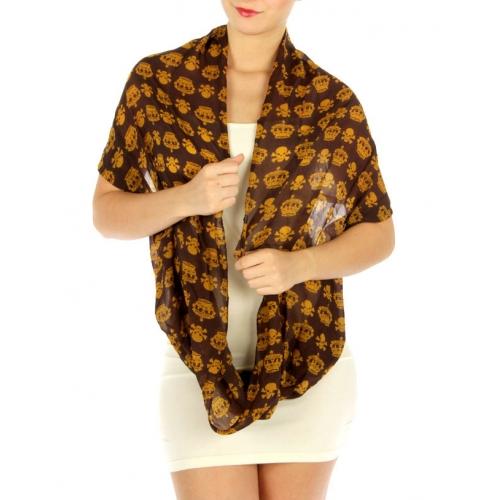 wholesale I33 Skull & Crown sheer infinity scarf Brown