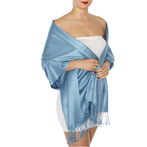 wholesale D63 Silky Solid Wedding Pashmina 64 Denim