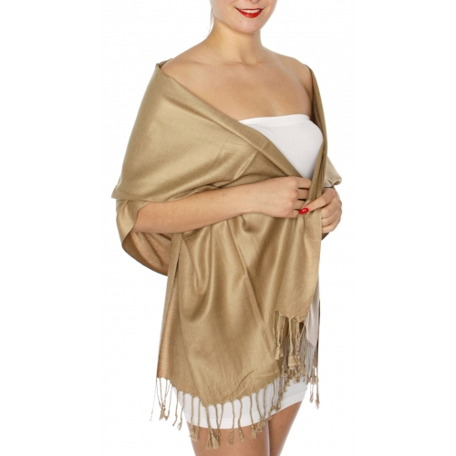 wholesale D63 Silky Solid Wedding Pashmina 65 Taupe