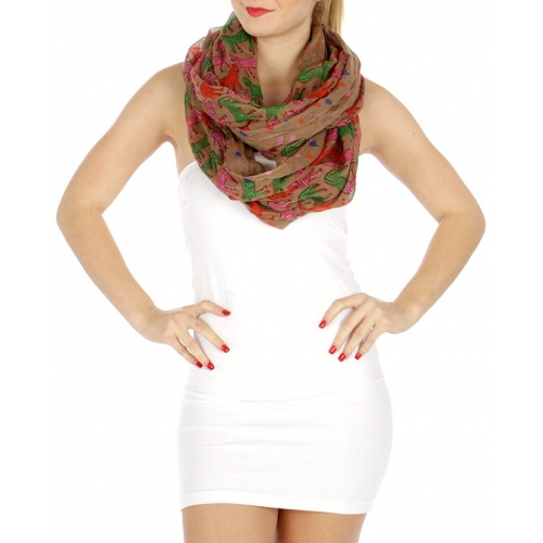 wholesale I06 Multicolored zebra infinity scarf Beige