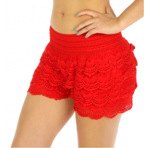Wholesale K25 Cotton tiered lace shorts Black
