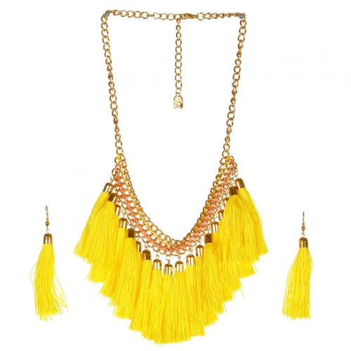 wholesale N38 Tassel fringe necklace set GDBLPK