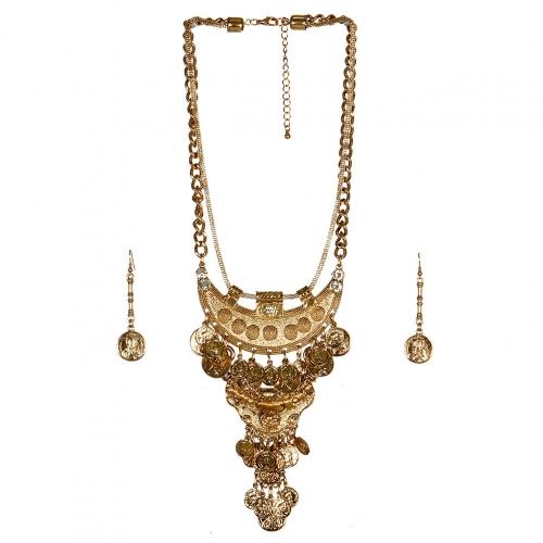 wholesale N33 Crescent coin drop necklace set AG