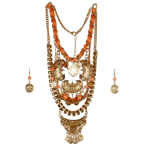 wholesale N33 Multi strand coin necklace set AGPE