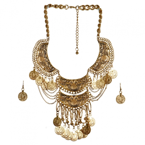wholesale N33 Coin drop bib necklace set AG fashionunic