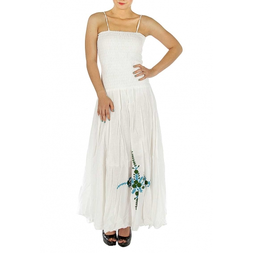 wholesale L27 Cotton scrunched top embroidered maxi
