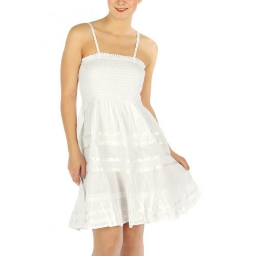 wholesale L27 Mid length satin inset cotton dress White