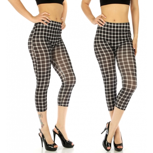 wholesale E15 Checkered cotton blend capris Black/White