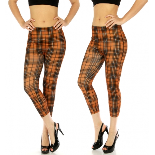 wholesale E15 Cotton blend capri leggings Plaid Camel