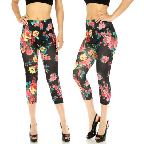wholesale E12 Cotton blend print capri leggings Black