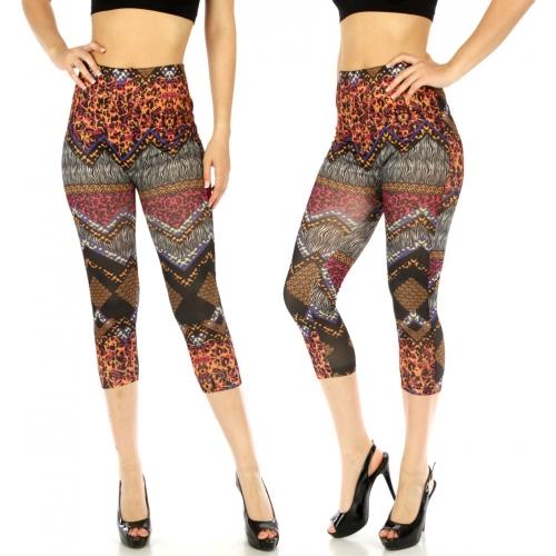wholesale Cotton blend capri leggings Abstract BK/OR
