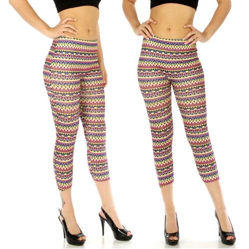 wholesale Cotton blend capri leggings Diamond Pink/Lime