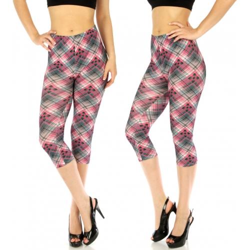 wholesale Cotton blend capri leggings Checkered PinkBlue