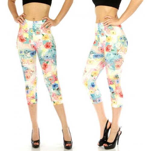 wholesale E17 Cotton blend capri leggings Rose Pink/Blue