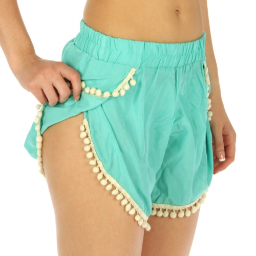wholesale E25 Tulip hem shorts with pom pom Black