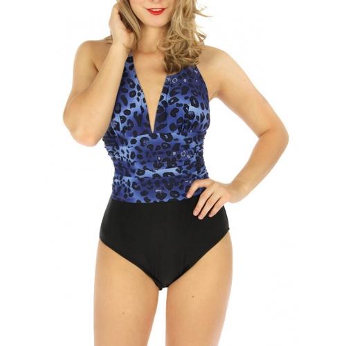 wholesale K24 Midwaist scrunched one-piece swimsuit BKWT
