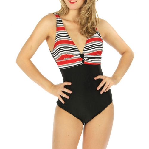 wholesale K24 Two tone one-piece swimsuit RD/GY