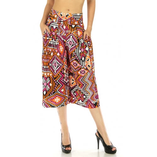 wholesale A02 Abstract capri palazzo pants Aztec