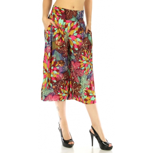 wholesale A13 Abstract capri palazzo pants Leaves