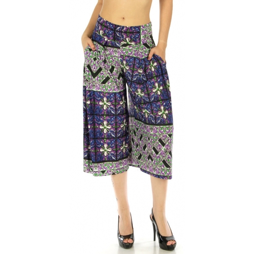 wholesale A03 Abstract capri palazzo pants Purple