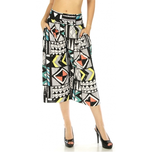 wholesale A03 Abstract capri palazzo pants Geometric
