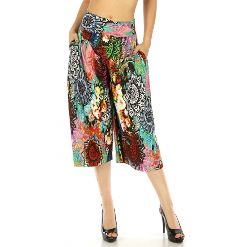 wholesale C01 Abstract capri palazzo pants Multicolor