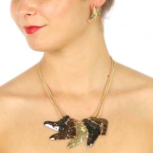 Wholesale L11 V shaped arrow link necklace set HTRI