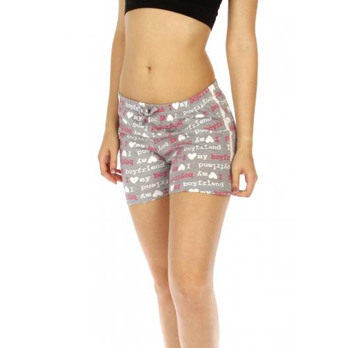 wholesale K77 Printed cotton pajama shorts Grey/Pink
