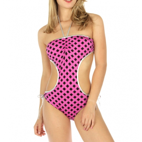 wholesale K97 Metallic halter top monokini PP/BK