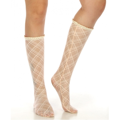 Wholesale N01 knee-high sheer plaid socks Emerald