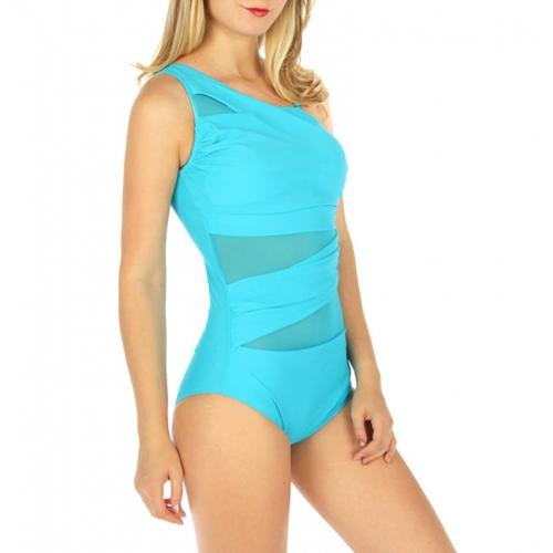 Wholesale K99 One shoulder mesh mix swimsuit Turquoise