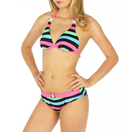 Wholesale K94 Embellished striped halter bikini MN/PK