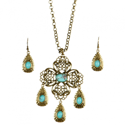 Wholesale L24 TQ accent tear drop necklace set GBSB