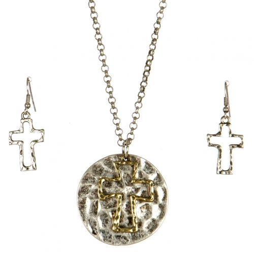 Wholesale L24 Hammered cross necklace set SBGB