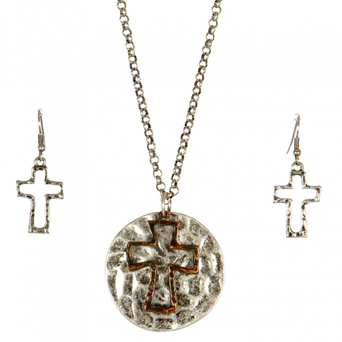 Wholesale L24 Hammered cross necklace set SBOG