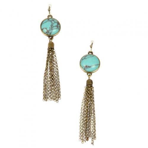 Wholesale L22 TQ metal chain drop earrings GB