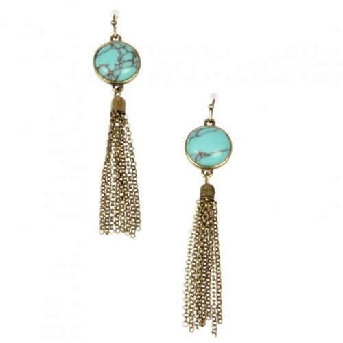 Wholesale L22 TQ metal chain drop earrings GB