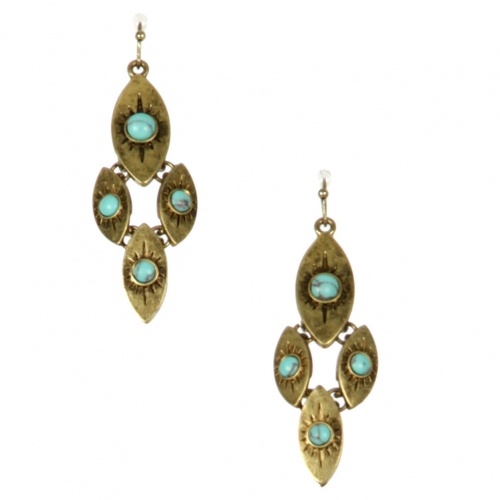 Wholesale L22 TQ embellished metal earrings GB