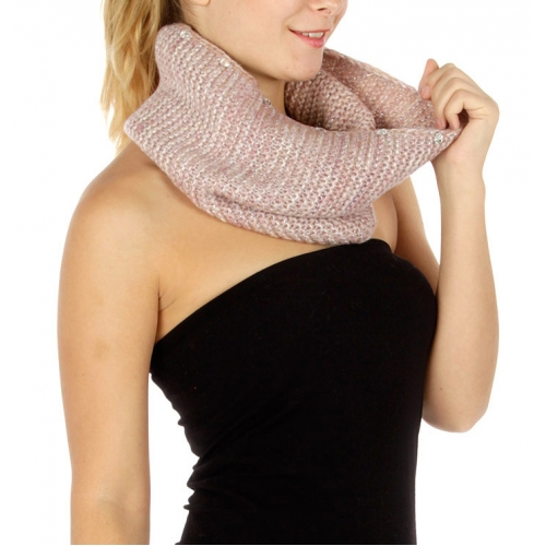 Wholesale P29 Metallic detail knit neckwarmer BKGR