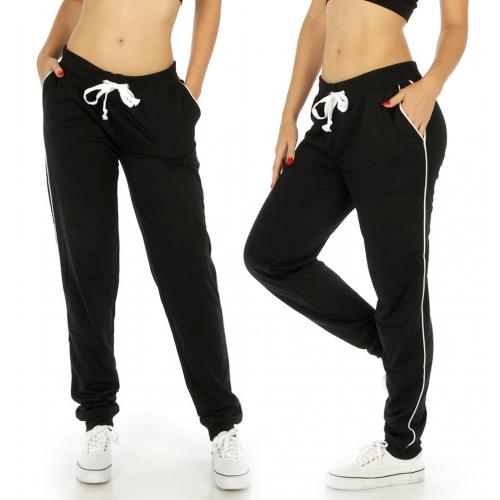 Wholesale E42 Side lined solid jogger pants Black