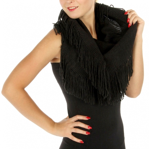 Wholesale S71 Double sided fringe infinity scarf BK