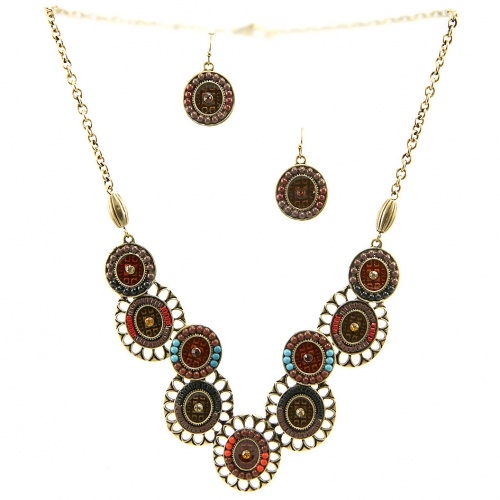 Wholesale L23 Cut out metal tribal necklace set GBBR