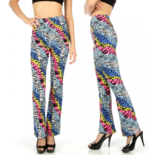 Wholesale B03 Zebra and cheetah softbrush flare leggings