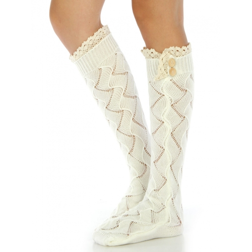 Wholesale Q22 Crochet detail open hole socks White
