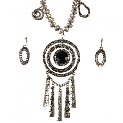 Wholesale L31 Centered stone circle necklace set SB