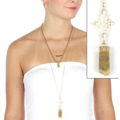 Wholesale L25 Drop stone long necklace set GNT