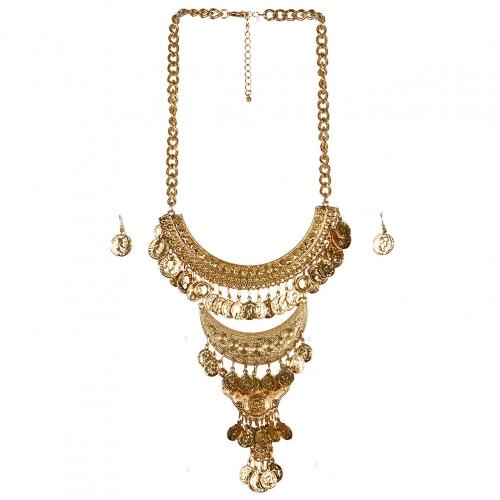 Wholesale L23 Three tier coin drop necklace set AG