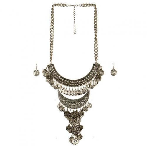 Wholesale L23 Three tier coin drop necklace set SB